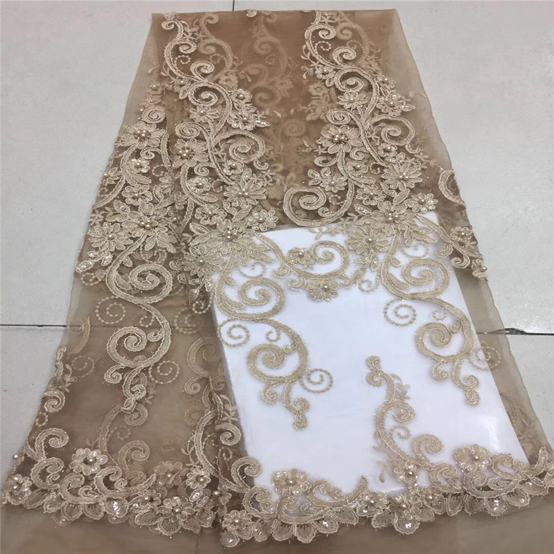 African Lace Fabric 2018 Embroidered Nigerian Laces Fabric Bridal High Quality Gold Sequins French Tulle Lace