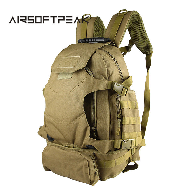 ФОТО 40L Outdoor Multifunctional Rucksack Tactical Backpack Military Hiking Camping Shoulder Bag Hunting Bags With Waist Bag Pack