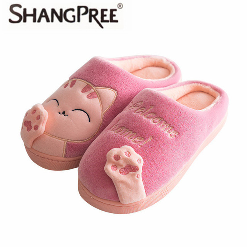Women Winter Autumn Home Slippers Ladies Cartoon Cat Shoes Non-slip Soft Warm Slippers Indoor Bedroom Loves Couple Floor Shoes