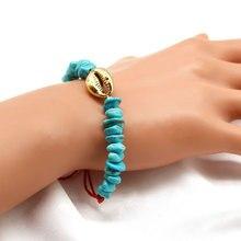 Fashion Handmade Bracelet Jewelry Women Green Stone Metal Shell Rope Chain Bracelets for