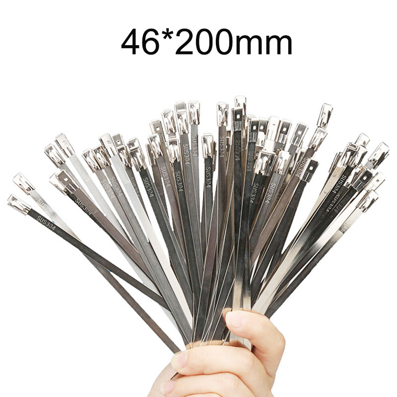 100pcs 4.6*200mm 4.6mmx200mm High Quality Latching Self-Locking Stainless Steel Zip Cable Tie Lock Tie Wrap Cable ties 100pcs 12x800mm 12 800 201ss 304ss boat marine zip strap wrap ball lock self locking 201 304 stainless steel cable tie