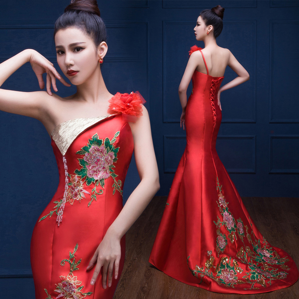 sirne robe de soire perle de luxe lgant rouge satin formelle parti robe de bal robes - Ruban Rouge Mariage Turc