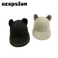 Acapsion Black Wool Cat Ear Baseball Caps Metal Rivet Ring Equestrian Visor Cap Visors For Women Bone Gorra Casquette Chapeu