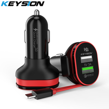 KEYSION 2 Port 33W Quick Charge 3.0 Car Charger QC 3.0 +5V/3A USB Fast Charger Mobile Phone Travel Adapter car-charge With Cable все цены