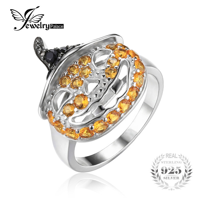 JewelryPalace Pumpkin 1.7ct Created Yellow Sapphire Genuine Black Spinel Finger Cocktail Ring 925 Sterling Silver Women Jewelry