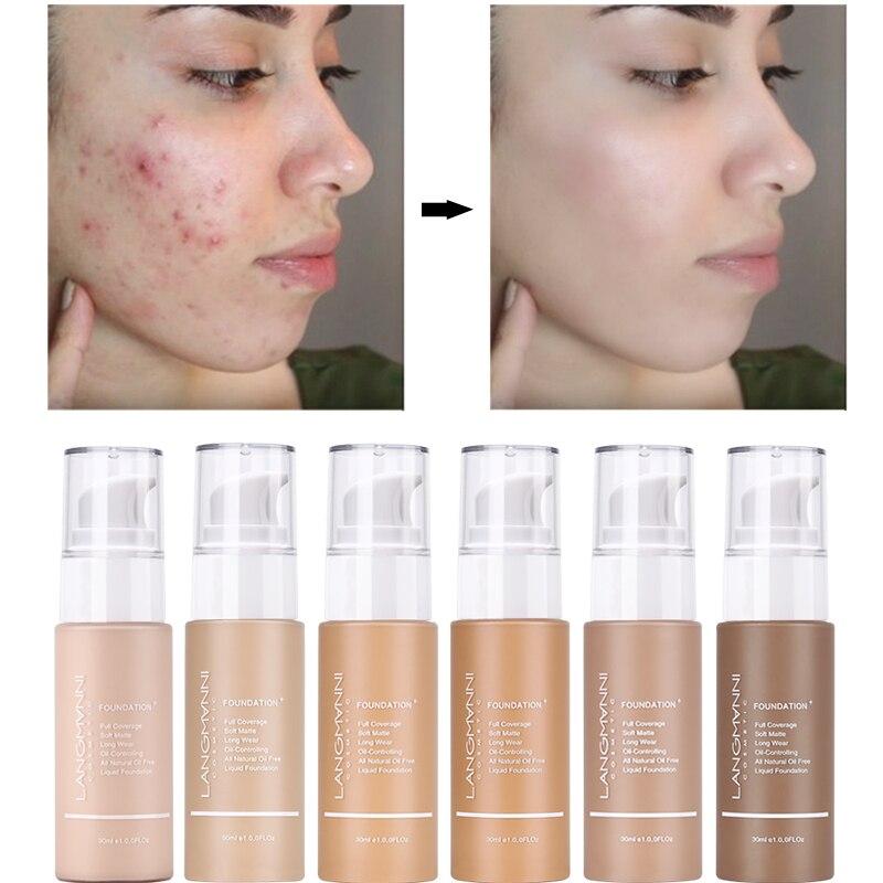 Langmanni 30ml Liquid Foundation Soft Matte Concealer 13 Colors Primer Base Professional Face Make up Foundation Contour Palette 2
