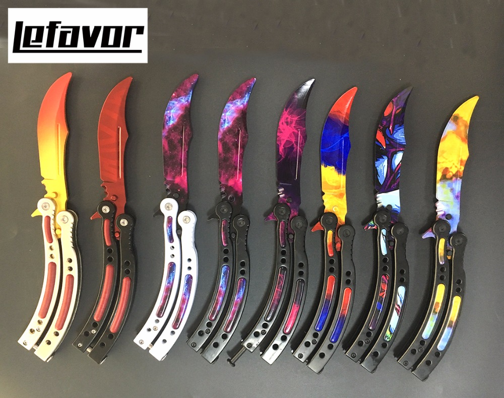 CS GO knife butterfly in knife folding karambit knife for training practice Counter Strike Game stainless steel knife gift set colorful color game knife dull blade no edge practice butterfly in knife balisong trainer training pocket cs go karambit knife