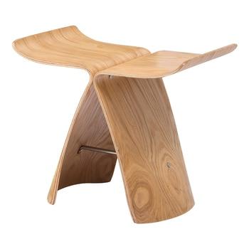 Banqueta de mariposa hecha de madera contrachapada de Fresno, taburete de 3 colores Natural/Negro/nogal para sala de estar, taburete de madera para dormitorio