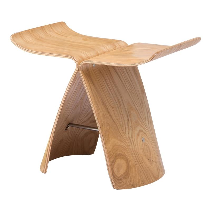 Стул с бабочками из Ash фанеры 4 цвета натуральный/черный орехового дерева стул для Гостиная, Спальня деревянный табурет Дисплей