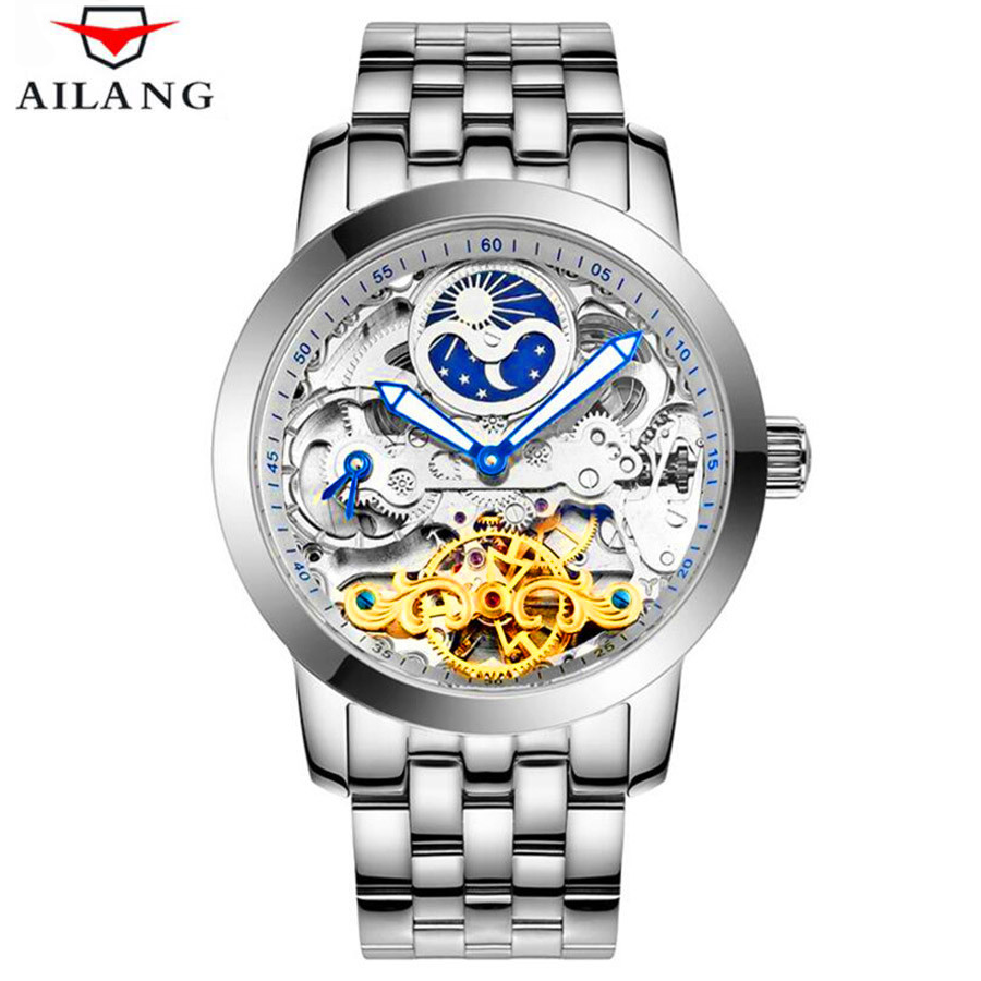 Luxury Tourbillon Automatic Mechanical Men Watch Skeleton Stainless Steel Bracelet Self wind Watches Men Clock relogio masculino