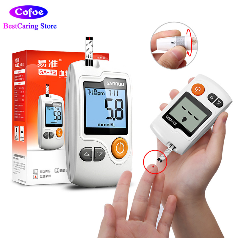 Sannuo Yizhun GA-3 Blood Glucose Meter for Diabete Accurate Glucometer with Test Strips Lancets Blood Sugar Measuring Instrument цена