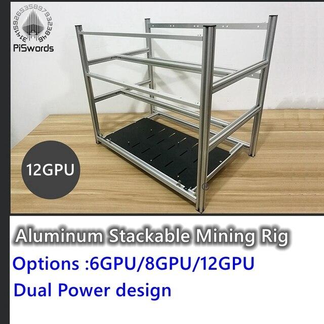 Штабелируемый алюминиевый чехол для майнинга открытым воздухом чехол для майнинга Рамка для 6/8/12 GPU Bitcon Биткоин Litecoin комплект несобранный эфириум 1