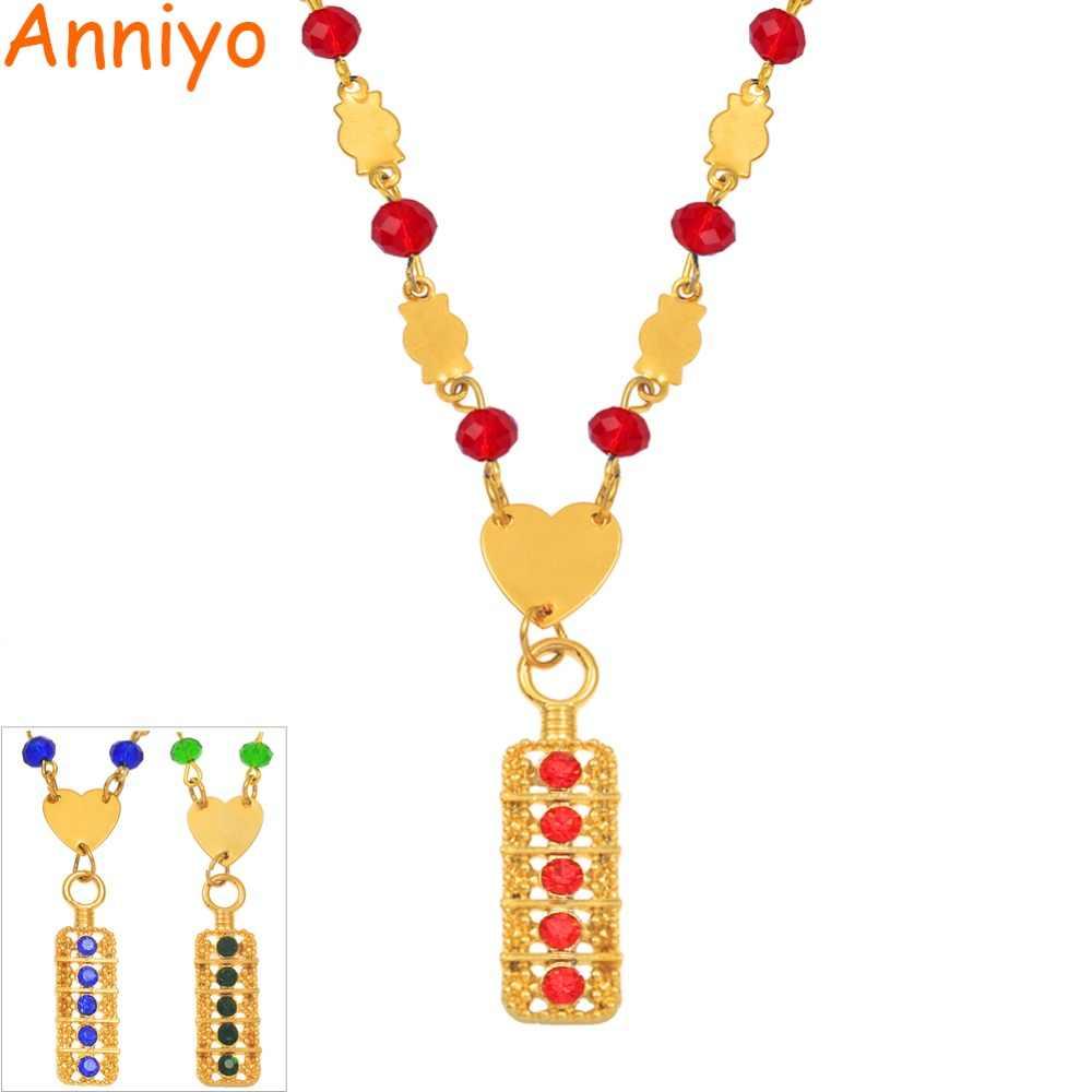 Anniyo New Blue/Red/Green Marshall Pendant Ball Beads Necklaces Melanesia Women Gold Color Guam Micronesia Chuuk Jewelry #163906