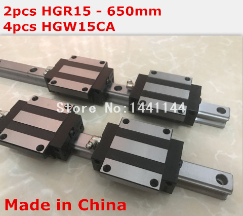 HGR15 linear guide rail: 2pcs HGR15 - 650mm + 4pcs HGW15CA linear block carriage CNC parts hg linear guide 2pcs hgr15 600mm 4pcs hgw15ca linear block carriage cnc parts
