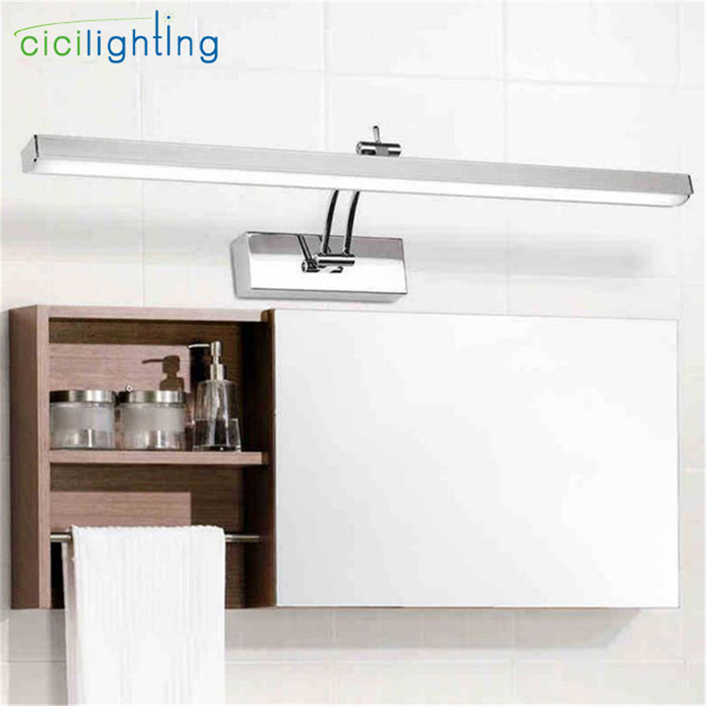L40/50/60/70cm Modern stainless steel led cabinet mirror light 7/8/10/12W bathroom shower vanity dressing lamp wall lights