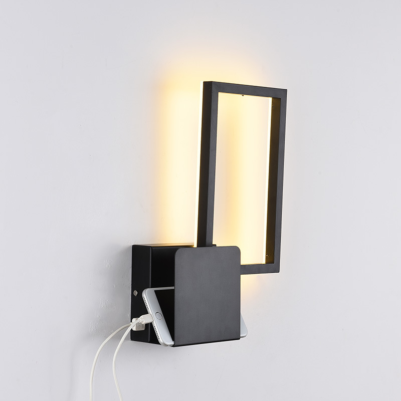 Modern LED Wall Light with USB Port Aluminum Black Square Wall Sconce Lamp for Home Bedroom Bedside Bed Headboard House DecoModern LED Wall Light with USB Port Aluminum Black Square Wall Sconce Lamp for Home Bedroom Bedside Bed Headboard House Deco