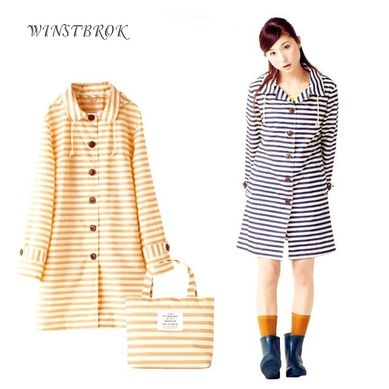 WINSTBROK 2017 New Fashion Raincoat Women Adults Impermeable Ladies Rain Coat Fashion And Striped Raincoat Women Rainwear