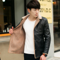 Men With Cashmere Leather Coat Winter New Youth Long Fur Leather Jacket Mens Tide  L-4xl