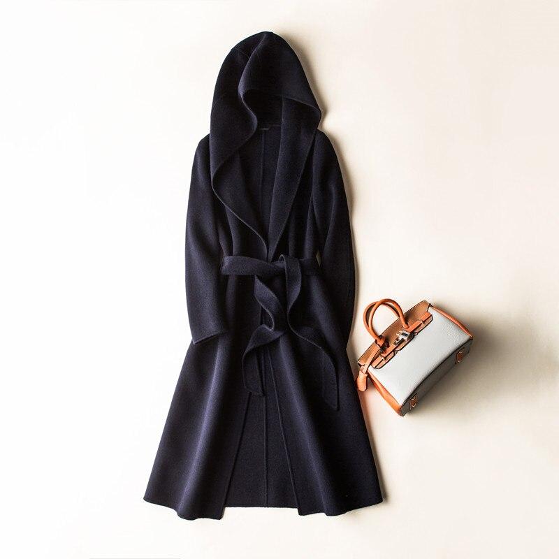 Cashmere feminino casaco longo manga comprida lã solta casaco outwear inverno outono trench coats tamanho grande