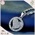 Hot Sale High Quality Shinning Love Heart Style 925 Real Silver Circle Heart Pendant For Ladies
