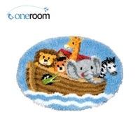 ZD607 Animals On Boat Oneroom Hook Rug Kit DIY Unfinished Crocheting Yarn Mat Latch Hook Rug