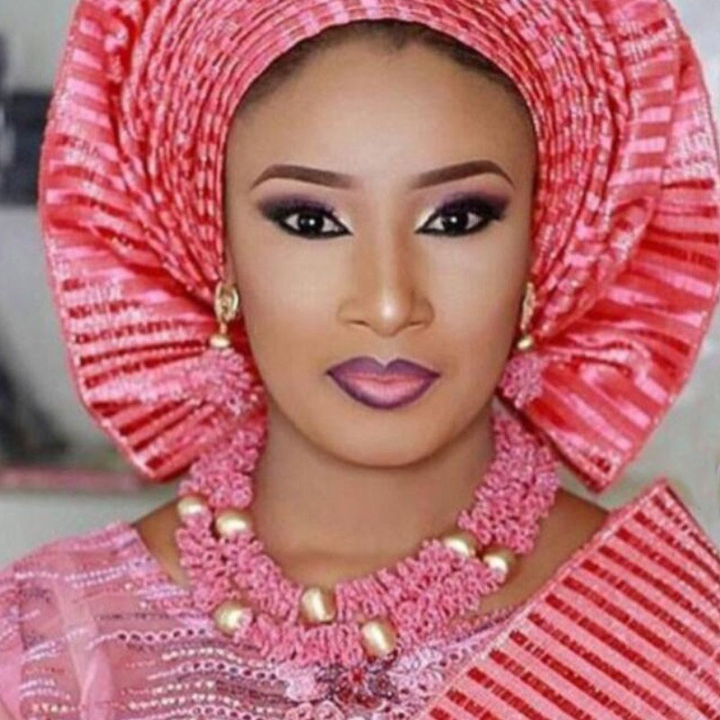 4UJewelry Peach Nigerian Wedding Set African Beads Big Design Bold Costume Choker Set Free Shipping Bridal Innrech Market.com