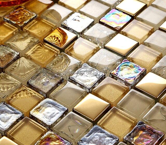 Gold Foil Glaze Crystal Gl Mosaic Tiles Hmgm1123 Backsplash Kitchen Wall Tile Sticker Bathroom Floor