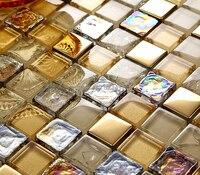 gold foil glaze crystal glass mosaic tiles HMGM1123 backsplash kitchen wall tile sticker bathroom floor tile free shipping