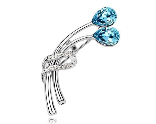 Azul Broche de Flor Pin Broches Jóias Para As Mulheres Áustria Acessórios De Cristal Da Jóia Do Casamento Bijoux Broches Presentes