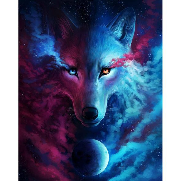 Galaxy Wolf In Diamond Painting Cross Stitch From Home