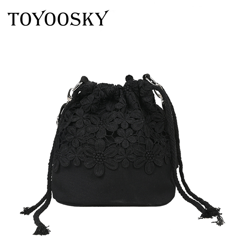 TOYOOSKY Women Bags 2017 New Summer Lace Drawstring Bucket Bags Small Cross-body Bag Fashion Trend Brief Shoulder Bag For Lady