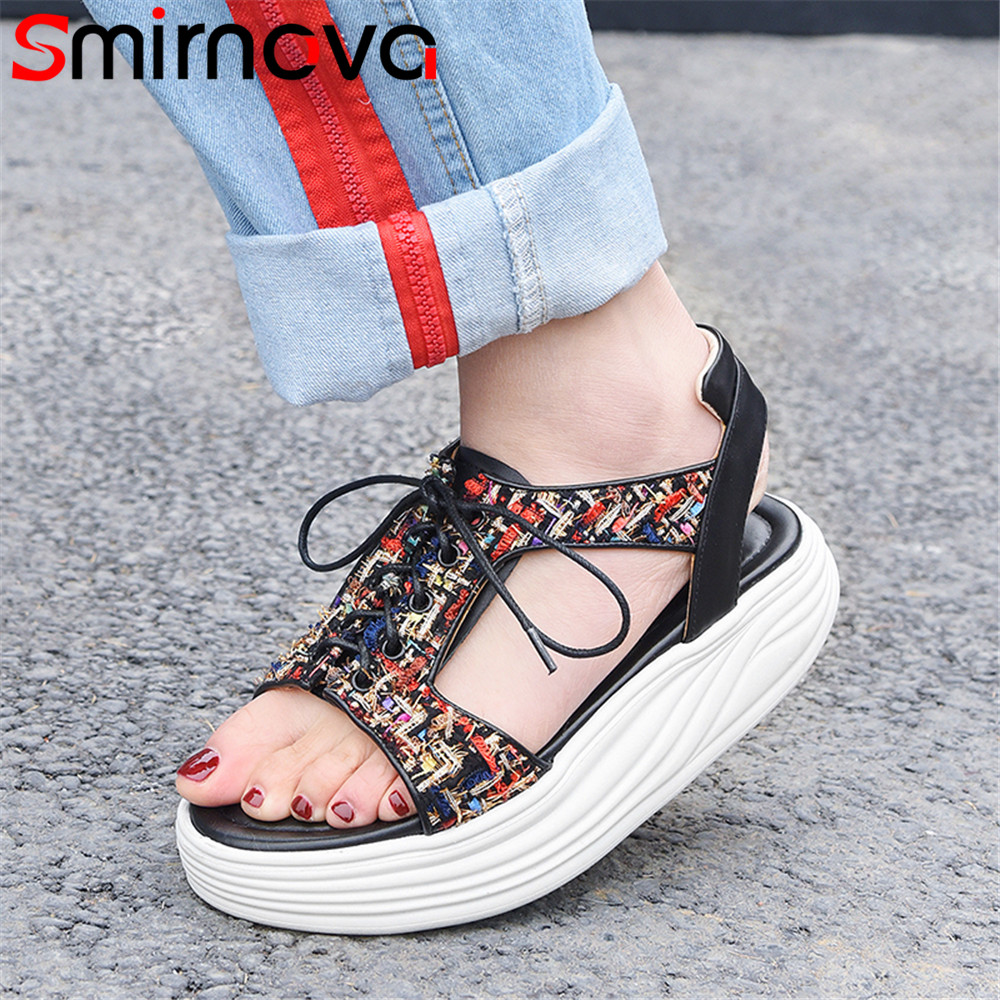 Smirnova black white fashion summer new shoes woman flat platform casual comfortable sandals women genuine leather shoes free shipping fashion summer 2017 new women shoes casual genuine leather flat shoes breathable soft comfortable