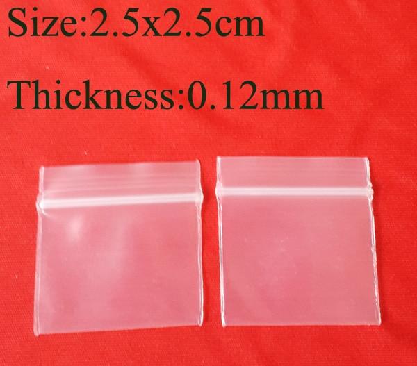 2.5x2.5cm 1''x1'' PE Ziplock Zip Zipped Lock Reclosable Plastic Poly Clear Bags 0.12mm thick Powder Beads package 1000pcs/Lot