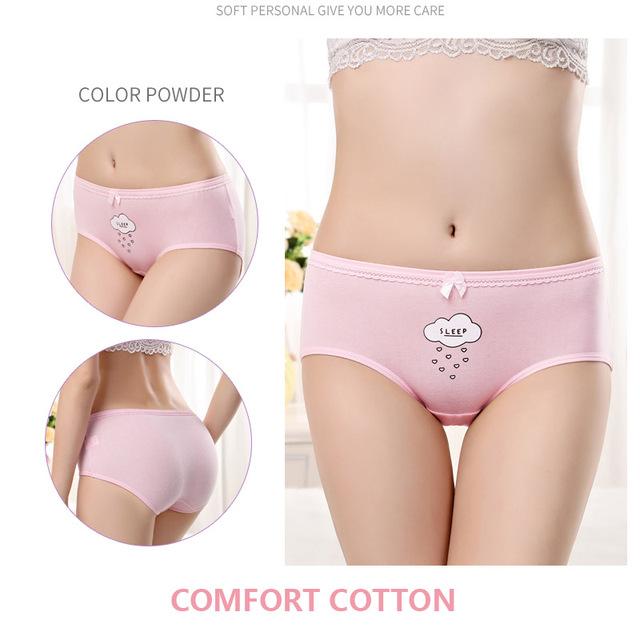 LANGSHA 5Pcs/Lot Panties Cotton Sexy Women Briefs Soft Lovely Girl Underwear Plus Size Seamless Lady Underpants Hot Sale Panties