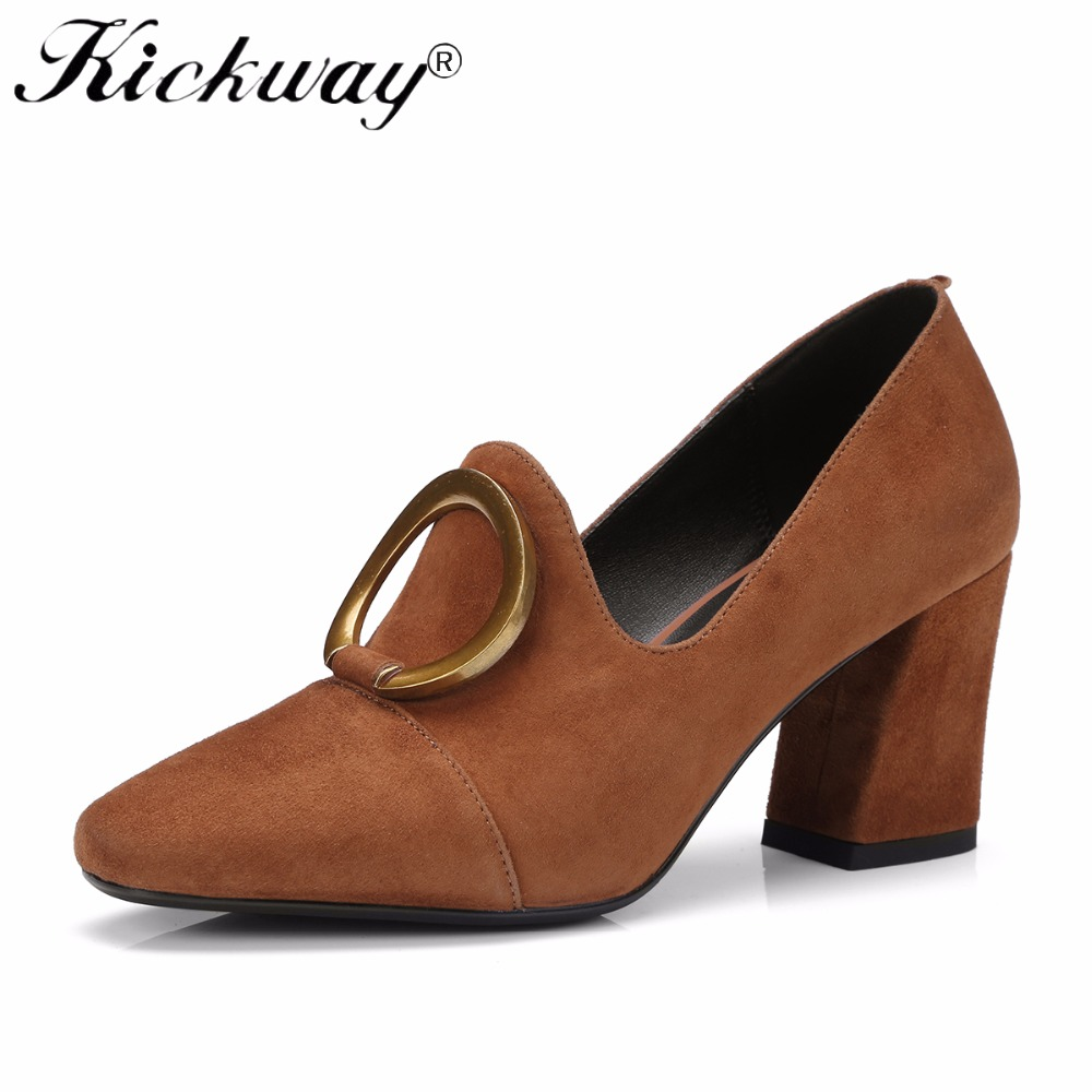 Kickway Women Pumps 2018 High Heels Shoes Woman Genuine Leather Big Size 34-42 Round Toe Black Brown Pigskin Fashion Shoes Women big size 40 41 42 women pumps 11 cm thin heels fashion beautiful pointy toe spell color sexy shoes discount sale free shipping