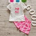 BibiCola лето девочка одежда наборы мода дети хлопок лук решетки одежда для девочек спортивные костюмы набор детей случайный наряд набор