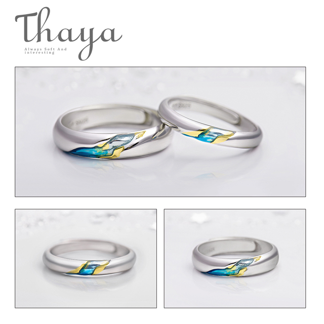 Thaya S925 Silver Couple Rings TheOtherShoreStarry Design Rings  for Women Men Resizable Symbol Love Wedding  Jewelry Gifts 3