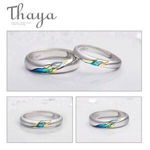 Image 4 - Thaya S925 argent Couple anneaux lautre rive étoilé Design anneaux pour femmes hommes redimensionnable symbole amour mariage bijoux cadeaux