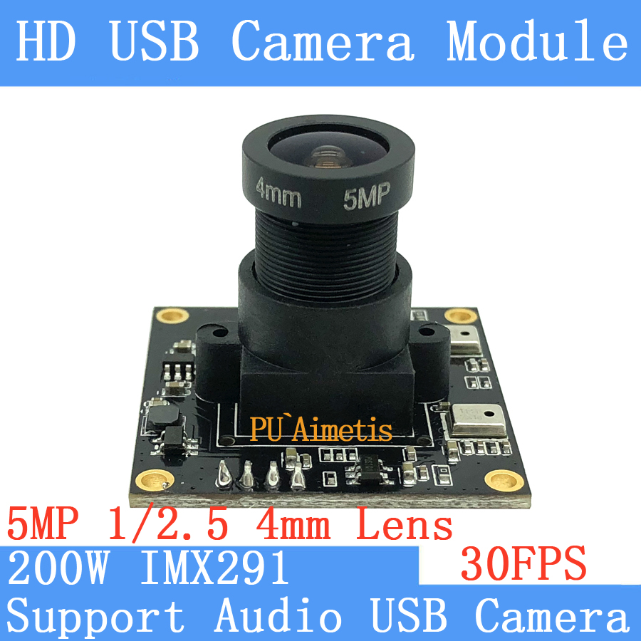 PU`Aimetis SONY <font><b>IMX291</b></font> star level 30FPS USB <font><b>camera</b></font> <font><b>module</b></font> 5MP 4mm Lens 1920*1080P Surveillance <font><b>camera</b></font> Support audio Linux UVC image