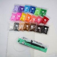 500 unids/20 bolsas 2.6mm mini perler hama beads para niños educación juguete DIY pinzas fusible hierro Kit de papel craft + pegboard pupukou