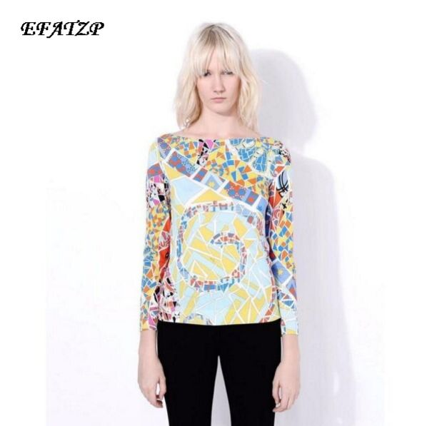 New Fashion High Quality Luxury Brands Designer Tops Tees Women s 3 4 Sleeve Geometry Printed