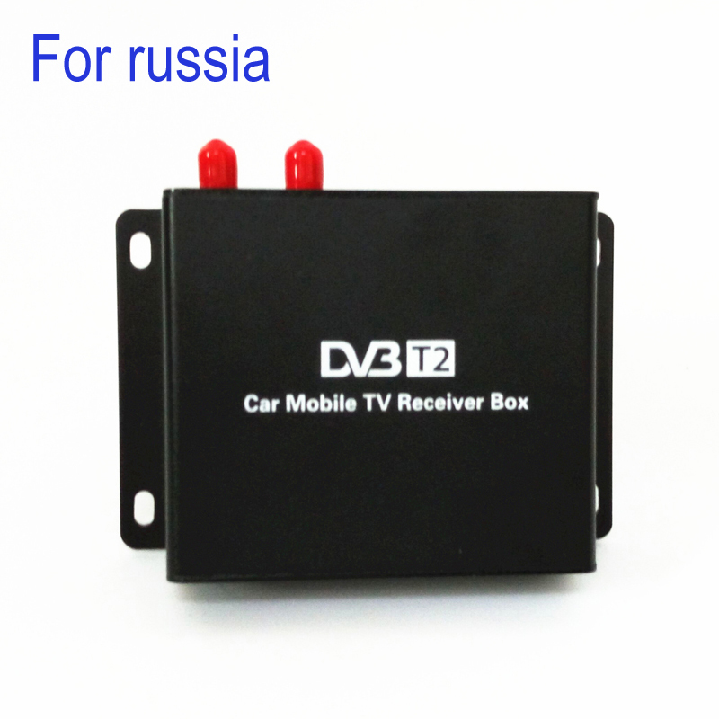 160-190km/h DVB T2 Car TV Tuner MPEG4 SD/HD 1080P DVB-T2 Digital TV Receiver for  Russia 1080p mobile dvb t2 car digital tv receiver real 2 antenna speed up to 160 180km h dvb t2 car tv tuner mpeg4 sd hd