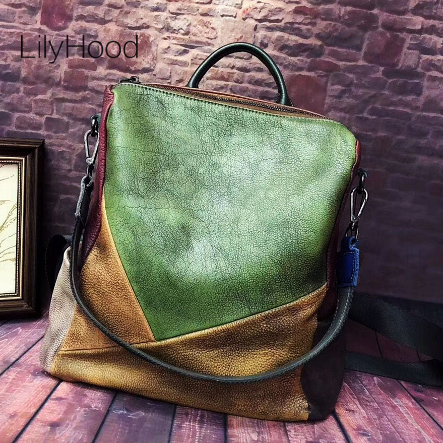 Cowhide Brushed off Leather Backpack 2019 Female Daily Cow Real Leather Knapsack Women Casual Genuine Leather