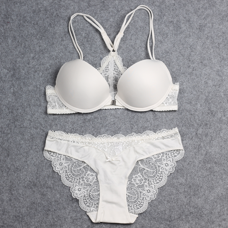 BRESNA Backless Bra With Lace Front Closure Bra Set Push Up Y line ...