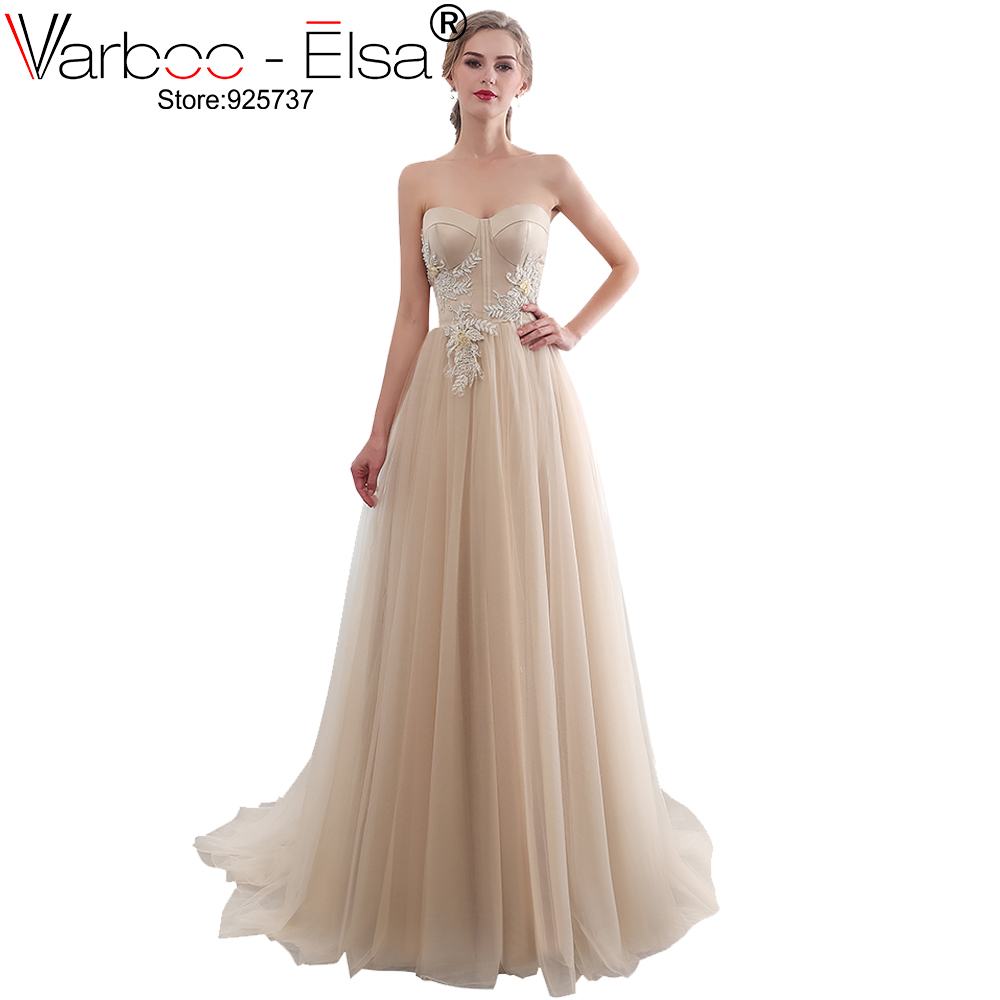 VARBOO_ELSA Champagne 2019 Cheap Wedding Dresses Chiffon