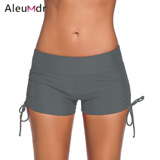 1cd48d5f5e Aleumdr Women Sport Swimwear Separates Panties Gray Adjustable Ties Swim  Bottom Shorts Briefs LC41986 Bikini Parte De Abajo