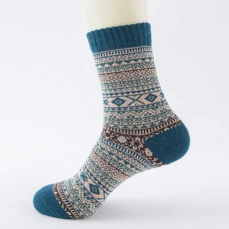 1pair Casual Mens Soft Thick Warm Socks Rabbit Wool Blends Warm Winter Socks Men Retro Style Colorful Mans Socks Breathable
