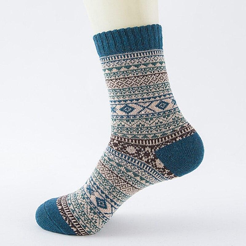 1pair Casual Mens Soft Thick Warm   Socks   Rabbit Wool Blends Warm Winter   Socks   Men Retro Style Colorful Mans   Socks   Breathable