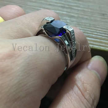 Vecalon Brand Men fashion Jewelry wedding Band ring 6ct stone 5A Zircon cz 925 Sterling Silver male Engagement Finger ring