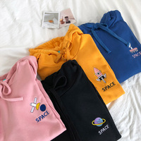 2018 spring Harajuku Kawaii women Casual top Bts Kpop Cartoon embroidery Ulzzang Cotton vadim Pullover hoody Sweatshirts